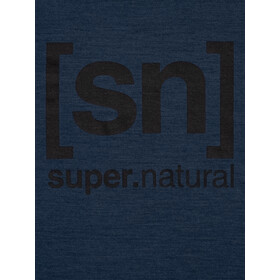 super.natural Essential I.D. T-Shirt Homme, blue iris melange/jet black logo